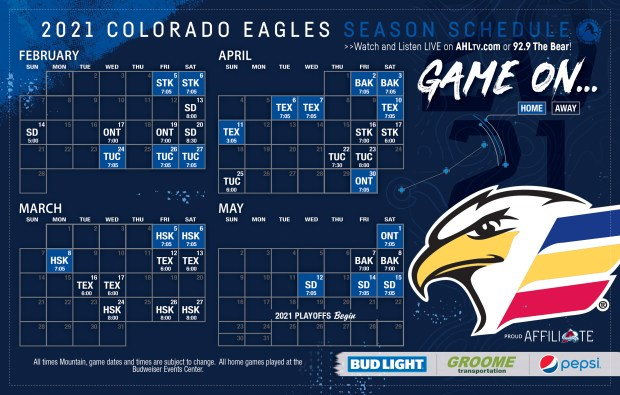 GREELEY, CO - January 22: The Colorado Eagles announced their regular season schedule on Friday. They will play 19 games at home and 19 on the road. (Courtesy of the Colorado Eagles)