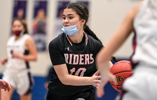 GREELEY, CO - FEBRUARY 09:Roosevelt's Mackenzie Sailors (10) drives toward the basket during the Northridge Grizzlies girls basketball game against the Roosevelt Roughriders at Northridge High School in Greeley Feb. 9, 2021. The Grizzlies took down the Roughriders 58-53.(Alex McIntyre/Staff Photographer)