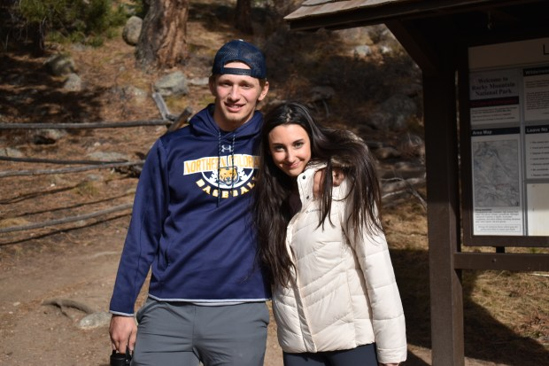 GREELEY, CO - FEBRUARY 19: Northern Colorado outfielder Johnny Graham takes a photo with his wife, Jane, at Rocky Mountain National Park. The couple married on Aug. 14, 2019, in their home state of Washington. (Courtesy of Jane Graham)