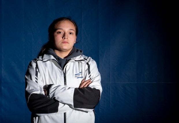 KERSEY, CO - MARCH 30:Platte Valley Broncos wrestler Neveah Garcia stands for a portrait outside the wrestling room in Platte Valley Middle School in Kersey March 30, 2021. Garcia took home the state title for the 161-pound weight class in girls wrestling's first official season as a CHSAA-sanctioned sport. (Alex McIntyre/Staff Photographer)
