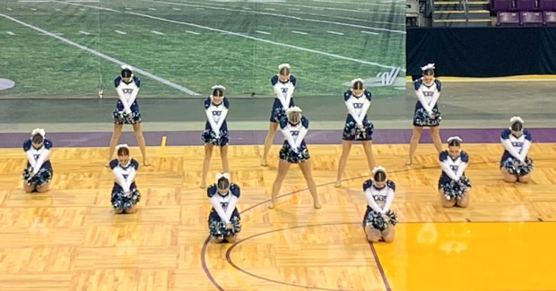 The University poms team competing at the spirit state championship March 26 at The Broadmoor World Arena in Colorado Springs. (Courtesy/Gina Haug)