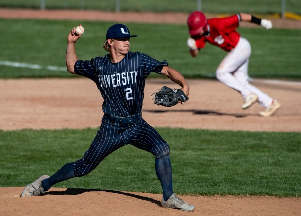 GREELEY, CO - MAY 27:University's Mikey Roy (2) pitches during the Eaton Reds baseball game against the University Bulldogs at University High School in Greeley May 27, 2021. The Reds defeated the Bulldogs 12-5. (Alex McIntyre/Staff Photographer)
