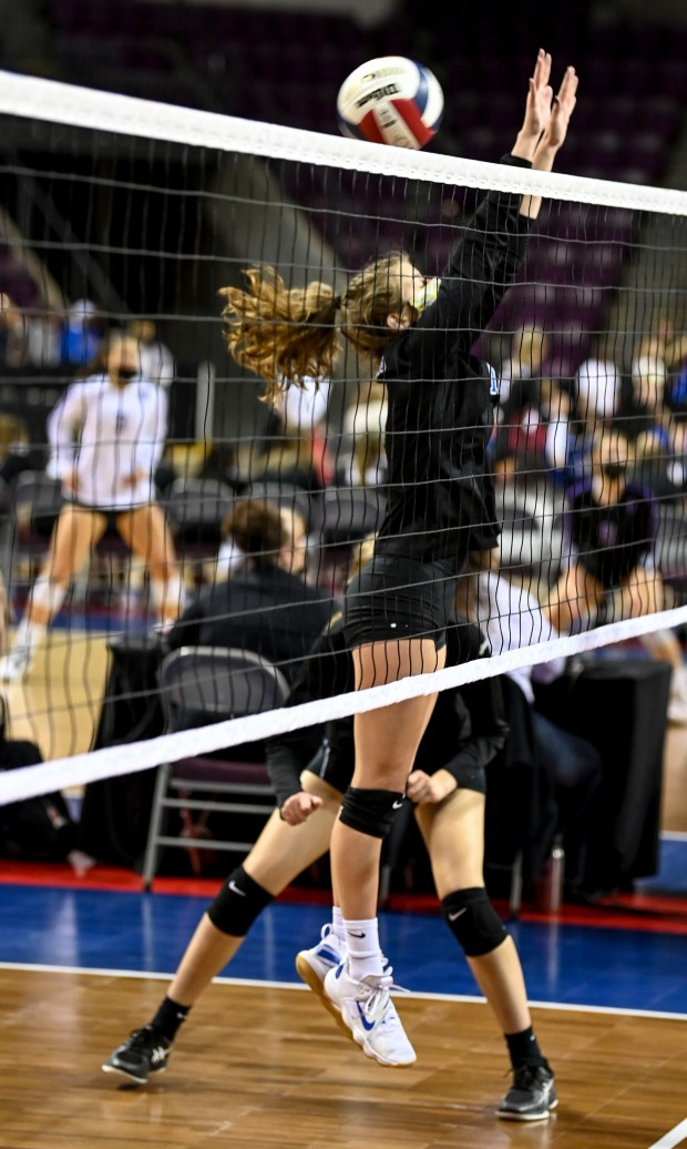 COLORADO SPRINGS, CO - MAY 12:The ball slips past Dayspring Christian's Alexa Shenkenberg (19) during the Dayspring Christian Eagles 2A girls volleyball state quarterfinal match against the Sedgwick County Cougars at The Broadmoor World Arena in Colorado Springs May 12, 2021. The Dayspring Christian Eagles fell to the Sedgwick County Cougars 3-0. (Alex McIntyre/Staff Photographer)