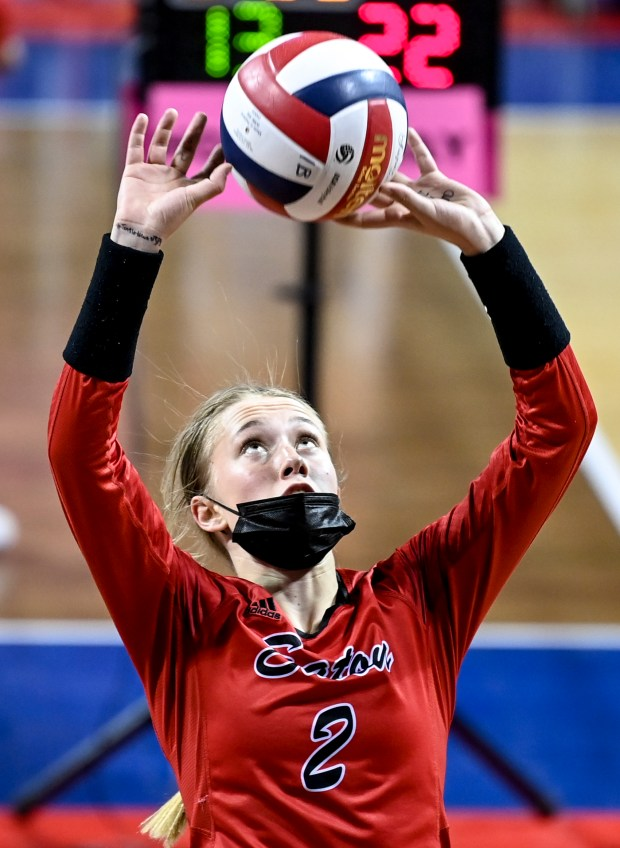COLORADO SPRINGS, CO - MAY 12:Eaton's Rylee Martin (2) sets during the Eaton Reds 3A girls volleyball state quarterfinal match against the Resurrection Christian Cougars at The Broadmoor World Arena in Colorado Springs May 12, 2021. The Reds defeated the Cougars 3-1 and will advance to the semifinals. (Alex McIntyre/Staff Photographer)