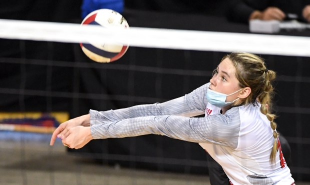 COLORADO SPRINGS, CO - MAY 13:Eaton's Sydney Leffler (10) digs during the Eaton Reds 3A girls volleyball state final match against the Sterling Tigers at The Broadmoor World Arena in Colorado Springs May 13, 2021. The Eaton Reds defeated the Sterling Tigers 3-1 to claim the 3A girls volleyball state title. (Alex McIntyre/Staff Photographer)
