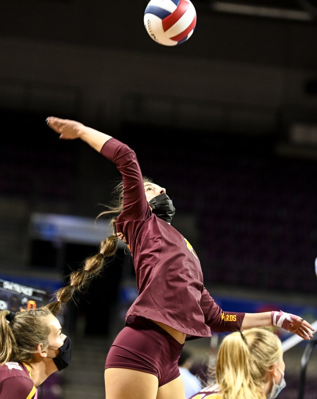 COLORADO SPRINGS, CO - MAY 12:Windsor's Kady Vialpando (13) attacks during the Windsor Wizards 4A girls volleyball state quarterfinal match against The Classical Academy Titans at The Broadmoor World Arena in Colorado Springs May 12, 2021. The Wizards defeated the Titans 3-0 and will advance to the semifinals. (Alex McIntyre/Staff Photographer)