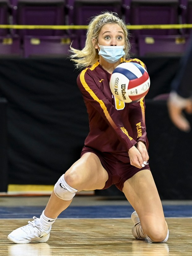 COLORADO SPRINGS, CO - MAY 12:Windsor's Kaylie Phelps (10) digs during the Windsor Wizards 4A girls volleyball state quarterfinal match against The Classical Academy Titans at The Broadmoor World Arena in Colorado Springs May 12, 2021. The Wizards defeated the Titans 3-0 and will advance to the semifinals. (Alex McIntyre/Staff Photographer)