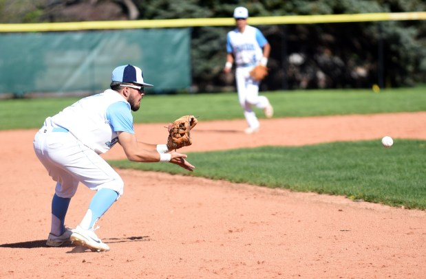 GREELEY, CO - MAY 12:Greeley West's Hunter Redfern moves in a ground ball during the game against Greeley Central at Butch Butler Field in Greeley May 12, 2021. (Photos by Josh Polson/For the Greeley Tribune)