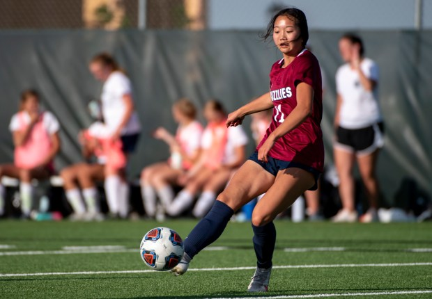 GREELEY, CO - JUNE 08:Northridge's Annalise Darnell (11) takes a shot during the Northridge Grizzlies girls soccer match against the Severance Silver Knights at District 6 Soccer Stadium in Greeley June 8, 2021. The Grizzlies defeated the Silver Knights 10-0. (Alex McIntyre/Staff Photographer)