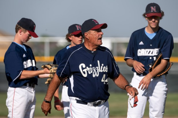 GREELEY, CO - JUNE 10:Northridge head coach Mike Huston shouts to the umpire after a pitching change during the Northridge Grizzlies baseball game against the Silver Creek Raptors at Darryl Kile Field in Greeley June 10, 2021. The Grizzlies defeated the Raptors 9-7. (Alex McIntyre/Staff Photographer)