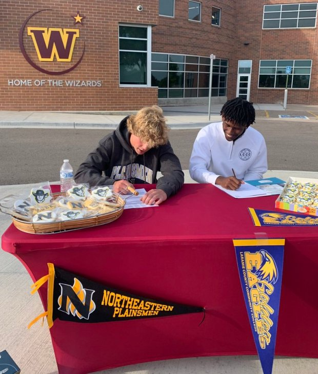 Earlier this month, Windsor High School basketball players Kobe Greene, left, and Ben Hageman signed to play college men's hoops at Northeastern Junior College and Laramie County Community College, respectively. (Courtesy/Windsor boys basketball, Twitter)