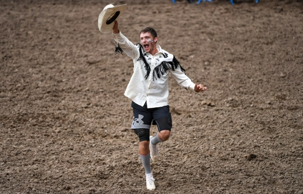 GREELEY, CO - JULY 03:Bullfighter Roper Rich, of Eaton, reacts after winning the American Bull Fighting event during the 99th Greeley Stampede at Island Grove Regional Park in Greeley July 3, 2021. Bullfighter Roper Rich, of Eaton, took first place with a score of 176. (Alex McIntyre/Staff Photographer)