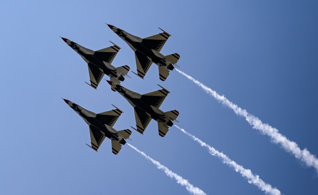 CHEYENNE, WY - JULY 28:The U.S. Air Force Thunderbirds fly by in formation during a demonstration during the 2021 annual Wings Over Warren air show at Francis E. Warren Air Force Base in Cheyenne, Wyo. July 28, 2021. The air show featured parachute jumps by U.S. Air Force Academy cadets, flyovers by a variety of aircraft and a demonstration by the U.S. Air Force Thunderbirds. (Alex McIntyre/Staff Photographer)