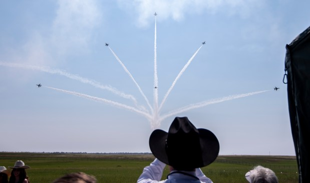 CHEYENNE, WY - JULY 28:A formation of the U.S. Air Force Thunderbirds splits apart as part of a demonstration during the 2021 annual Wings Over Warren air show at Francis E. Warren Air Force Base in Cheyenne, Wyo. July 28, 2021. The air show featured parachute jumps by U.S. Air Force Academy cadets, flyovers by a variety of aircraft and a demonstration by the U.S. Air Force Thunderbirds. (Alex McIntyre/Staff Photographer)