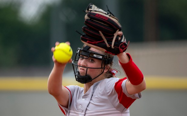 EATON, CO - AUGUST 17:Eaton's Julia Meagher (14) pitches during the Eaton Reds softball game against the Fort Lupton Bluedevils at Eaton High School in Eaton Aug. 17, 2021. The Eaton Reds defeated the Fort Lupton Bluedevils 6-1. (Alex McIntyre/Staff Photographer)