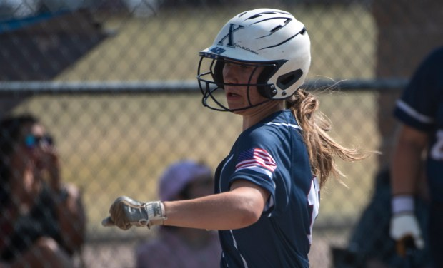 GREELEY, CO - AUGUST 12:Northridge outfielder Kennedy Strausheim (19) runs home during the Northridge Grizzlies softball game against the Greeley West Spartans at District 6 Softball Field in Greeley Aug. 12, 2021. The Grizzlies defeated the Spartans 12-0 in four innings. (Alex McIntyre/Staff Photographer)