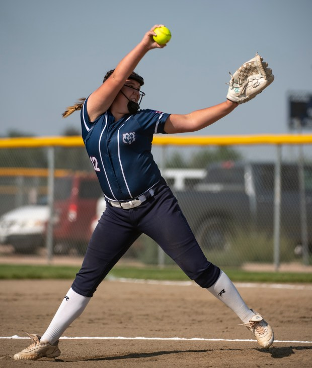 GREELEY, CO - AUGUST 12:Northridge pitcher Sydney Fosdick (12) pitches during the Northridge Grizzlies softball game against the Greeley West Spartans at District 6 Softball Field in Greeley Aug. 12, 2021. The Grizzlies defeated the Spartans 12-0 in four innings. (Alex McIntyre/Staff Photographer)