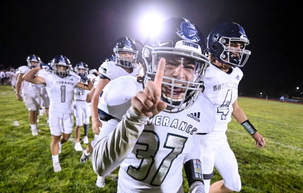 KERSEY, CO - SEPTEMBER 09:The Severance Silver Knights celebrate after their win over the Platte Valley Broncos at Platte Valley High School in Kersey Sept. 9, 2021. The Silver Knights defeated the Broncos 17-14. (Alex McIntyre/Staff Photographer)