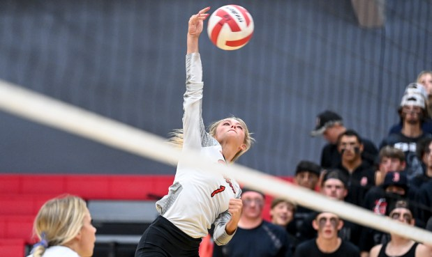 EATON, CO - SEPTEMBER 28:Eaton's Ahana Leffler (1) attacks during the Eaton Reds volleyball match against the University Bulldogs at Eaton High School in Eaton Sept. 28, 2021. (Alex McIntyre/Staff Photographer)