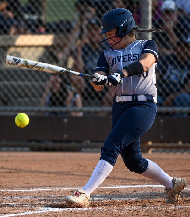 GREELEY, CO - SEPTEMBER 07:University's Kendree Kern (10) hits during the University Bulldogs softball game against the Eaton Reds at Twin Rivers Ballparks in Greeley Sept. 7, 2021. The Reds defeated the Bulldogs 6-4. (Alex McIntyre/Staff Photographer)