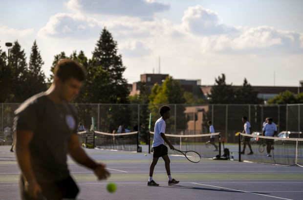 GREELEY, CO - SEPTEMBER 14:The Greeley Central Wildcats boys tennis match against the Greeley West Spartans at Greeley Central High School in Greeley Sept. 14, 2021. (Alex McIntyre/Staff Photographer)