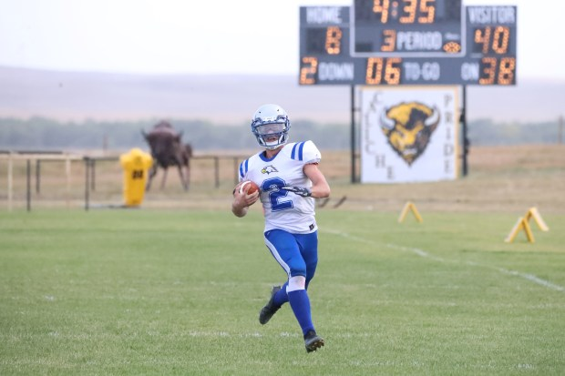 Dayspring Christian senior quarterback Garrett Krehbiel runs in the open field during the Eagles' 48-14 win on Friday, Oct. 1, in Iliff. (Courtesy/Brian Stotts)