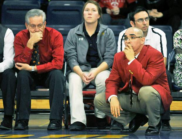 Eaton coach Todd Hernandez coaches the Reds in the 3A Patriot League girls basketball title game in 2015 in the Bank of Colorado Arena in Greeley. Hernandez will coach Eaton's baseball team, while continuing to coach the girls basketball program.