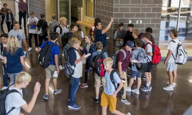 Students fill the hub where several hallways connect during a passing period at Greeley West High School Friday, Nov. 15, 2019. With the passage of ballot issue 4C, Greeley-Evans School District 6 plans to tear down and rebuild Greeley West. (Alex McIntyre/amcintyre@greeleytribune.com)