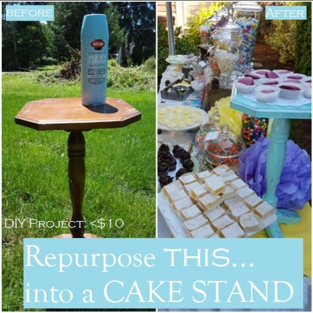 DIY Repurposed Cake stand from vintage furniture end table How to Make a cake stand