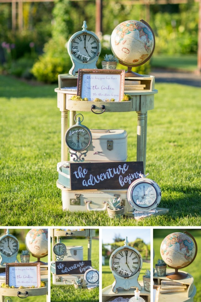 The Adventure Begins Wedding Theme. Blue & Copper Wedding. Vintage Suitcases & Globes. The Oregon Garden. Vintage Globes and Rustic Crates. Vintage Wedding Theme. Welcome Table. Wedding Clocks. Clock Signs. Wedding Signs. Adventure Sign. Metal Wedding Details. Tan Globes. Vintage Suitcases. Trendy. Travel Wedding Theme. Destination Wedding. Adventure Wedding Theme. Blue Wedding.
