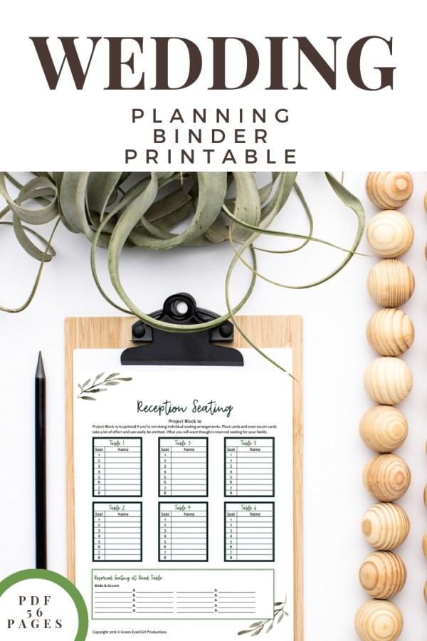 Wedding Planner Book | Wedding Planner Binder Printables, Wedding Guide, Wedding Notebook, To Do List Notebook- 56 Page – Eucalyptus