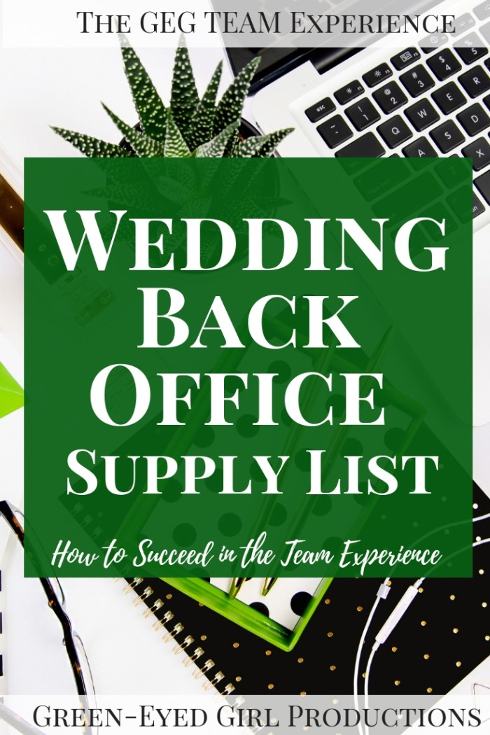 Find all you need to have a successful wedding planning experience with Green-Eyed Girl Productions. I'm outlining my must-have wedding planning Back Office Supply list from Microsoft Excel to Printer Ink and our Exclusive Wedding Planning Binder.