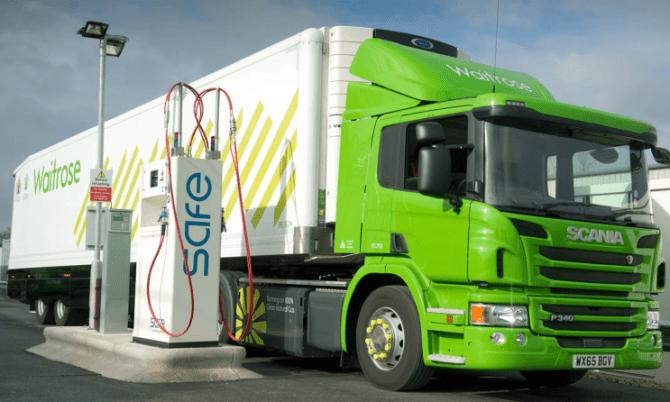 Ciężarówki na biometan w Wielkiej Brytanii