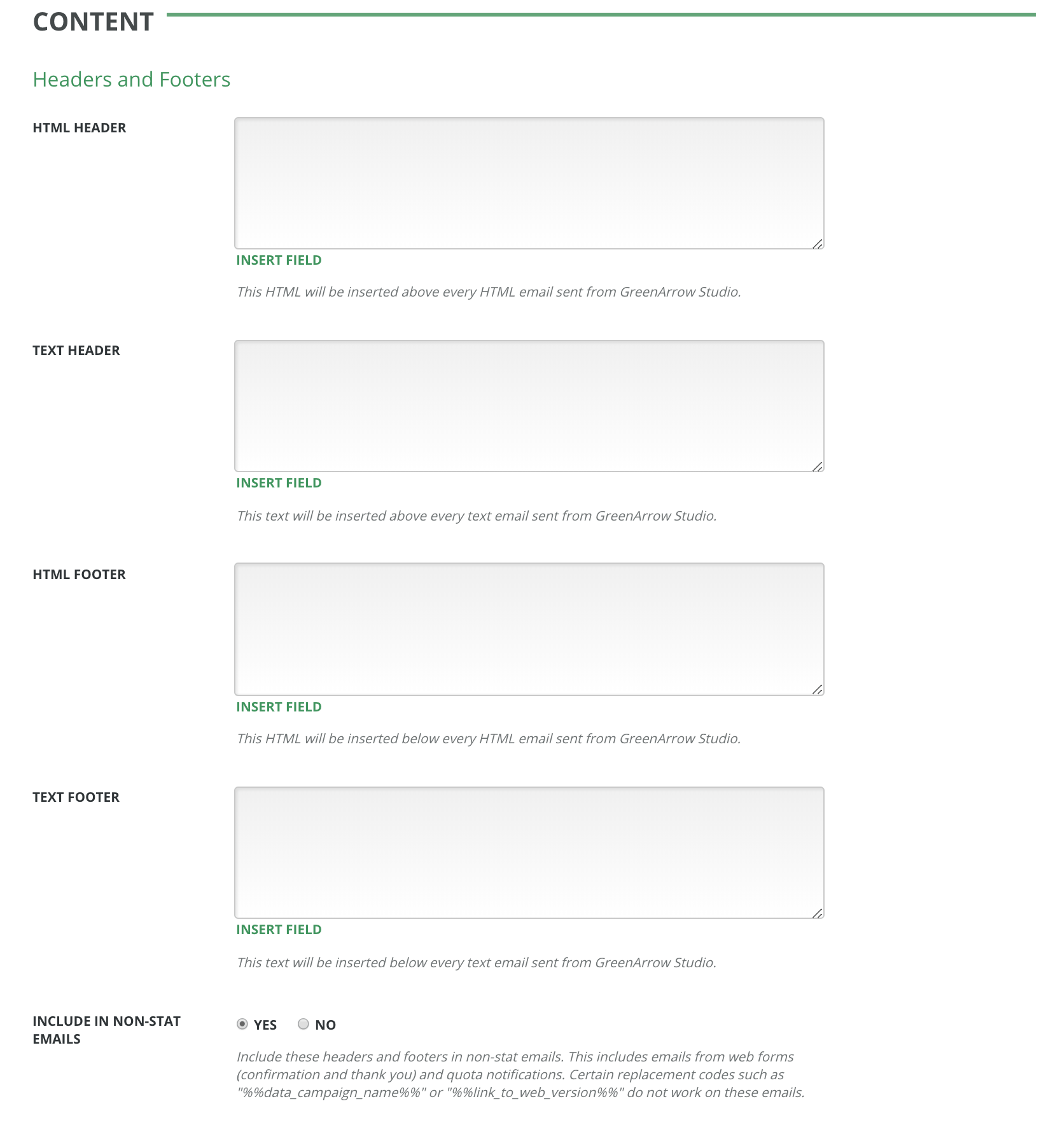 Default Headers And Footers