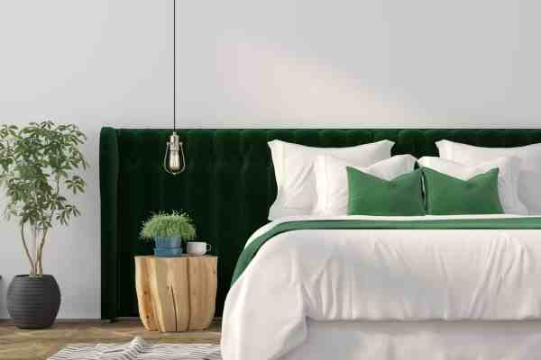 Organic sheets in a green bedroom