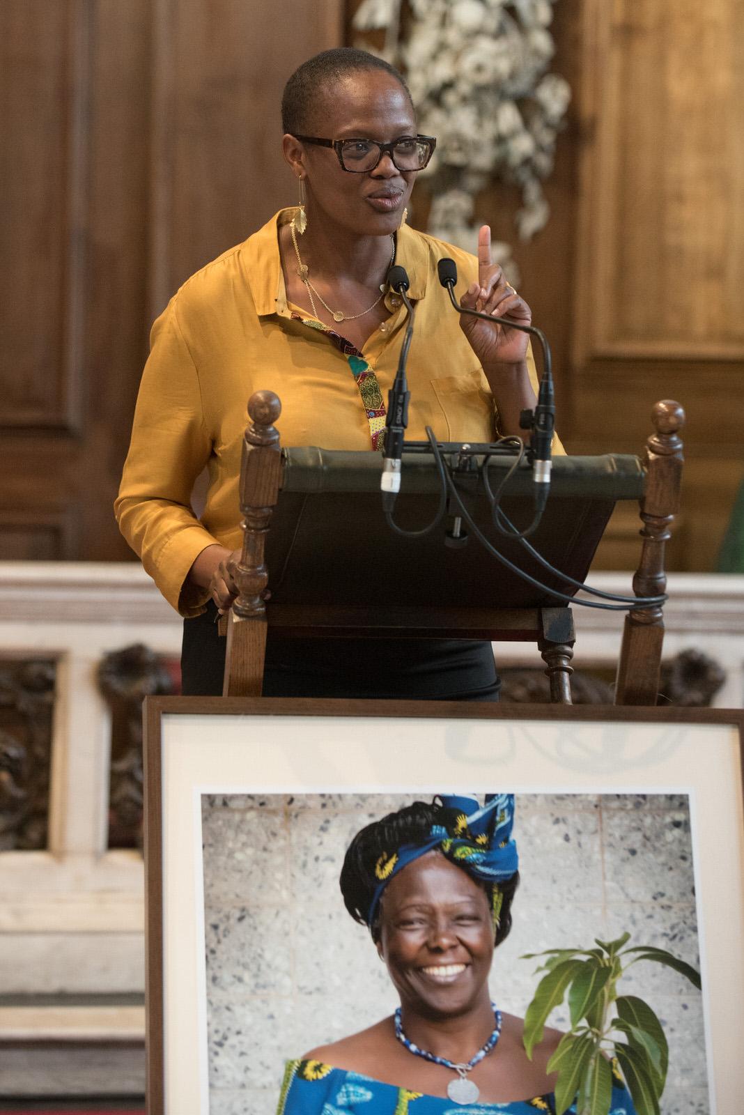 Wanjira Mathai, Chair of the Green Belt Movement makes her remarks