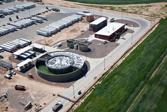 On-site water treatment plant recycles 75 percent of process water for re-use in the factory.