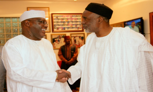 Former Vice President Atiku Abubakar and Governor Murtala Nyako of Adamawa State during a meeting in Abuja on Friday