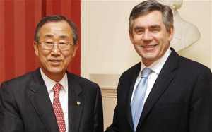 Former British Prime Minister, Mr. Gordon Brown and Secretary-General of the United Nations, Ban Ki Moon