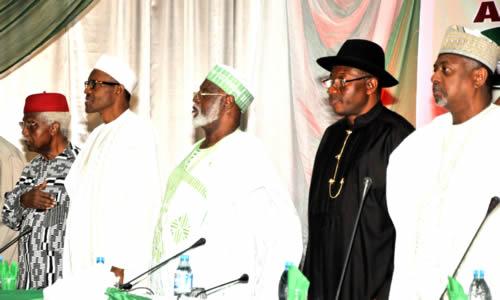 Former Vice President, Chief Alex Ekwueme, General Muhhamadu Buhari and Gen Abdulsalami Abubakar, Former Heads of State, President Goodluck Jonathan and Col. Sambo Dasuki (rtd), National Security Adviser.