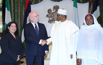PRESIDENT BUHARI RECEIVES OUTGOING US AMB. 4A&B. R-L; Minister of State Foreign Affairs, Haijya Khadija Ibrahim Bukar Abba, President Muhammadu Buhari, the outgoing United States Ambassador to Nigeria, Mr James F. Entwistle and US embassy deputy Head of Mission, Mrs Maria Brewer during a farewell audience with the President at the State House in Abuja. PHOTO; SUNDAY AGHAEZE. JULY 12 2016