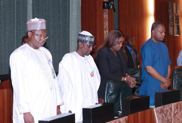 VP PROF OSINBAJO PRESIDES OVER FEC 5. L-R; Minister of State Environment, Mr Ibrahim Usman Jibril, Minister of FCT Alhaji Muhammad Musa Bello, Minister of Finance, Mrs Kemi Adeosun and Minister of Foreign Affairs, Mr Geoffrey Onyeama as Vice President Prof Yemi Osinbajo presides over Federal Executive Council (FEC) in Abuja. PHOTO; SUNDAY AGHAEZE. NOV 23 2016.