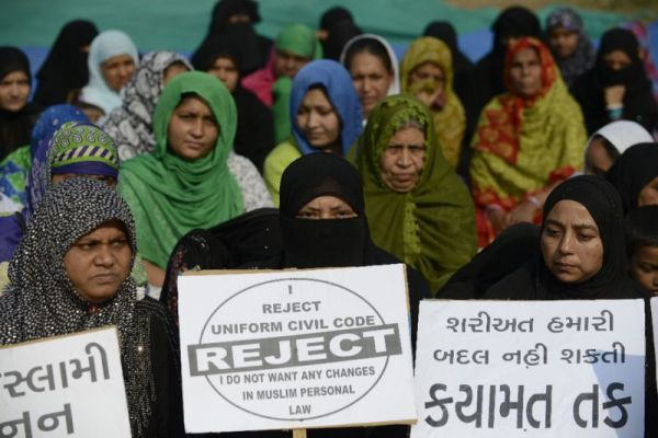 Some Indian Muslim women protest the court ruling |AFP Photo/SAM PANTHAKY