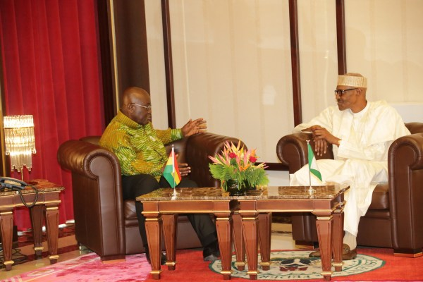 PRESIDENT BUHARI RECEIVES GHANA PRESIDENT 3A&B. L-R; President Muhammadu Buhari Chat with The President of Ghana, H.E Nana Dankwa Akufo-Addo in a close door during a visit to the State House in Abuja.PHOTO; SUNDAY AGHAEZE/STATE HOUSE . SEPT 12 2017