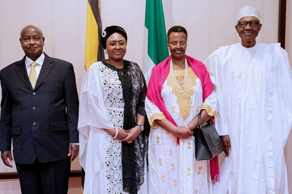 President Buhari with R-L: First Lady of Uganda H.E. Mrs Janet Museveni, Wife of Nigerian President Mrs Aisha Buhari and President of the Republic of Uganda H.E. Yoweri Kaguta Musveni during a courtesy call to the State House on 15th Sept 2017.