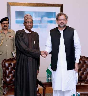 President Muhammadu Buhari and Prime Minister of Pakistan, Shahid Khaqan Abbasi