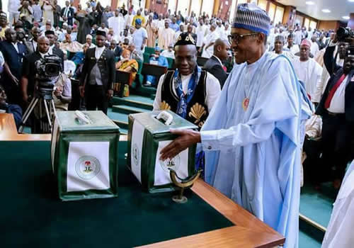 President Muhammadu Buhari Presenting 2018 appropriation bill to the national assembly