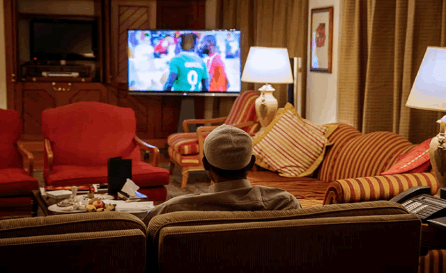 President Muhammadu Buhari, Watching Super eagle match from his hotel in Addis Ababa, Ethiopia