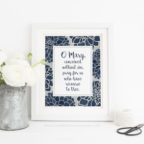 O Mary Conceived Without Sin Navy Blue Dahlias 8x10 Vertical watermark 2