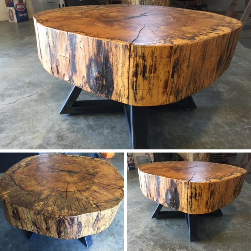 stump coffee table on wheels